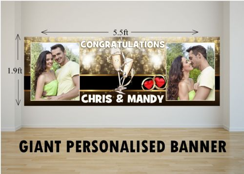 Personalised GIANT Large Congratulations Wedding Engagement Anniversary PHOTO Poster Banner N35